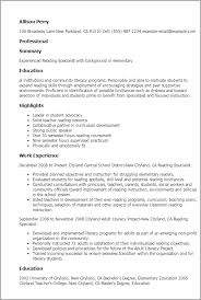 1 Reading Specialist Resume Templates Try Them Now Myperfectresume