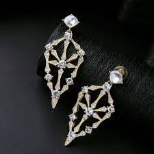 gold filigree clear crystal long chandelier earrings zoom