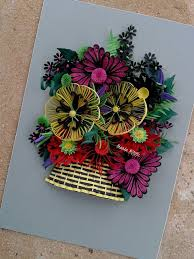 Paper Quilling Flower Baskets Colorful Paper Quilling Flowers Basket Home Wall Art Decor Etsy