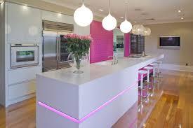 led home interior lighting. Interior:Enchanting Pink Led Lights Inside Sleek Kitchen With Long White Island Also Mini Counter Home Interior Lighting E