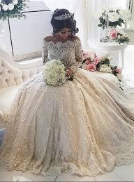 beautiful lace long sleeve princess wedding dresses 2017 ball gown