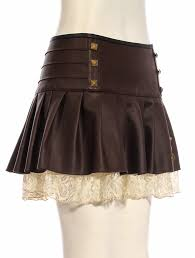 brown faux leather skirt with beige lace rivets and bronze gears steampunk rqbl