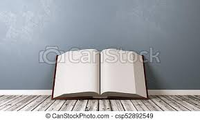 open book on wooden floor against wall csp52892549