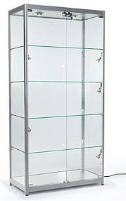 glass display case. Silver Aluminum Frame Display Cases Lock To Keep Merchandise Secure Glass Case L