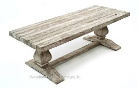 distressed grey antique trestle table