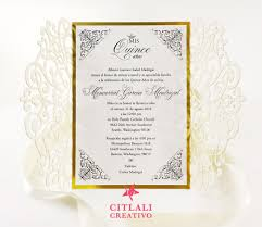 Quincenera Invitations Gold Foil Glitter Laser Cut Quinceañera Invitations