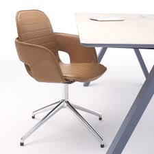 contemporary office chair  leather  steel  on casters  flux by