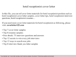 cover letter hotel receptionist example LiveCareer