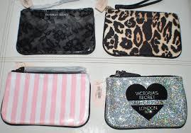 victoria s secret coin purse mini makeup bag leopard stripe black silver nwt ebay