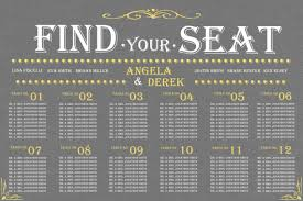 seating chart for wedding reception items similar to wedding seating chart find your seat gray