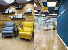 creative office ceiling. Interesting Ceiling At The Main Working Space Right Wall Painted In Bright Turquoise Which  Brought A Touch Of Scandinavian Style With Other Smoky Colored Ceiling Tiles And  Inside Creative Office Ceiling
