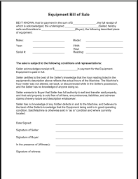 Download Equipment Bill Of Sale Form For Free Formtemplate