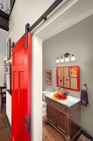 red barn door. View In Gallery Bathroom Door Adds Vivacious Red To The Setting [Design: Prime 1 Builders] Barn