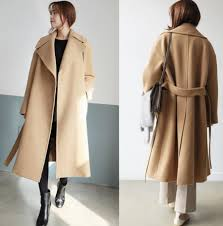 h sa women long jacket coat winter beige oversized woolen coat belt waist winter coat long