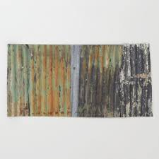 corrugated rusty metal fence paint texture beach towel