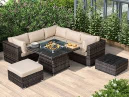 with fire pit table corner sofa set
