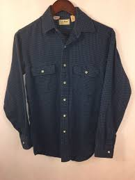 details about vtg ll bean flannel blue gingham plaid check shirt men s small made in usa