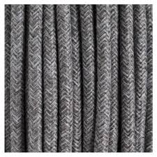 Fabric lighting cord Electric Fabric Linen Covered Lighting Cord Grey Electrical Flex Rn02 Zcdeals Fabric Cord Cable Round Grey Linen For Electrical Lighting Application