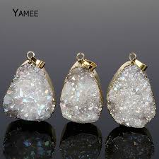 5pcs mix colors quartz fashion opal irregular crystal druzy natural stone making necklaces pendants gold