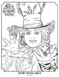 Small Picture Alice Through the Looking Glass Mad Hatter Colouring Page