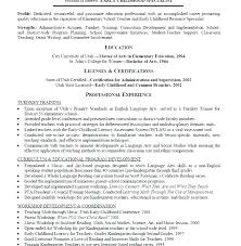 Early Childhood Certification Early Childhood Education Resume