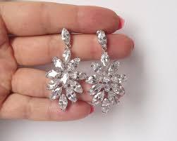 rhinstone chandeler bridal earrings