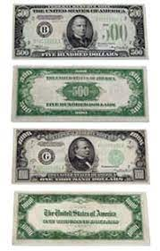 us paper currency 500 bill and 1