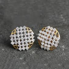 Designer Diamond Stud Earrings Details About 1 35ct Diamond Floral Stud Earrings Designer Solid Pave 14k Yellow Gold Jewelry