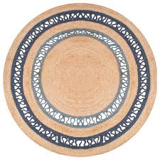 felix modern round blue brown natural jute solid rug 6 x6 beach style area rugs by kathy kuo home
