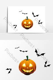 Cartoon <b>pumpkin bat element</b> design