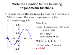following trigonometric functions unit 5 day 13 graph practice writing equation given ppt