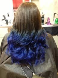 Blue Dip Dye On Light Brown Hair Dipped Blue Ends Tips Brown Hair Ombre Blue Blue Ombre