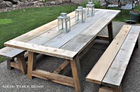 wooden patio dining table restoration hardware inspired outdoor table and benches
