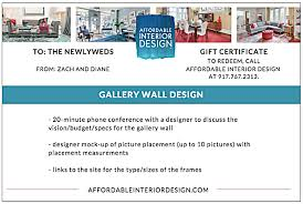 Gift Certificate Designer Gift A Design Holiday Gift In New York City Washington Dc