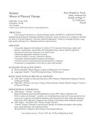 Physical Therapy Resume Template Fine Physical Therapist