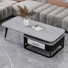 modern gray coffee table with drawer