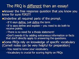 writing an ap human geography frq or response question ppt the frq is different than an essay