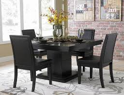 the brick dining room sets. Appealing Classic Style Black Dining Room Sets With Five Pieces Including Flower Rug Design And Brick Walls The