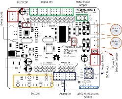 dfrduino romeo all in one controller v1 1(sku dfr0004) dfrobot arduino uno r3 pinout at Arduino Uno Wiring Diagram