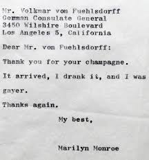 thank you note marilyn monroe