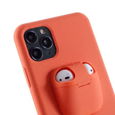 iPhone 11 Pro Max Airpods Case Silikon Hülle Orange