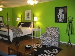 Accessories & Furniture, Fascinating Green Wall Paint Teenage Girl Bedroom  Design Ideas With Cool Canopy Bed On Combined Soft White Mattress And Cozy  Black ...