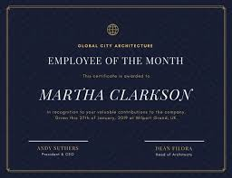 blue and gold elegant employee of the month certificate  blue and gold elegant employee of the month certificate