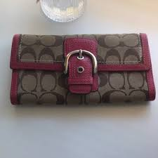 Coach signature c large wallet pink leather