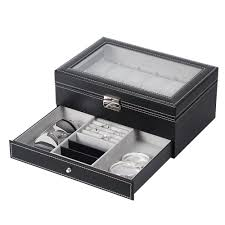 watch jewelry box display case double layer 12 slot organizer glass top with 2nd tier