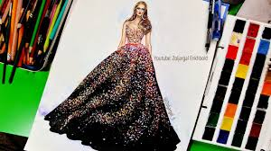 Youtube Fashion Design Sketches How To Paint Fashion Illustration For Beginners Sparkly Glitter Gown