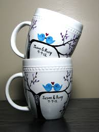 personalized coffee mugs painted cups love birds set of two 40 00 via