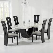 riviera cream and black marble dining table with 6 chairs