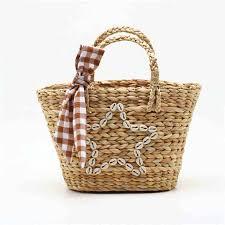 Round Straw Beach Bag Summer <b>Woven</b> Shell <b>Handmade</b> ...