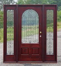 alder exterior door with wrought iron glass